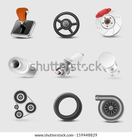car parts vector icon set