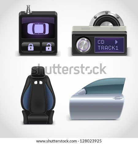 car parts vector icons set 3 - stock vector