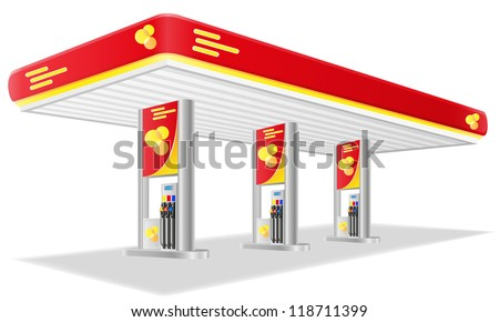 car petrol station vector illustration isolated on white background - stock vector