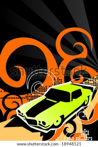 Car poster. Vector illustration.