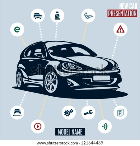 Car presentation. Main car icons set. - stock vector