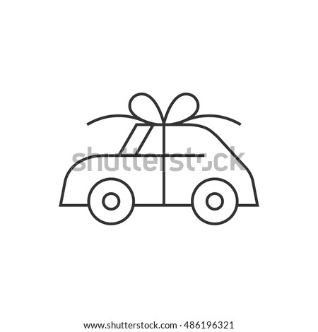 Car prize icon in thin outline style. Business automotive gift present