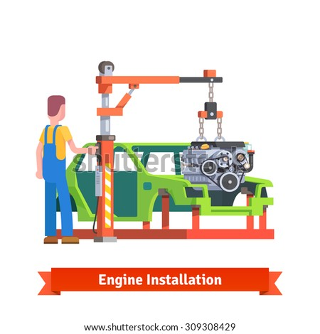 Car production line or repair shop. Mechanic is installing new engine on the auto body. Motor overhaul. Flat style vector illustration isolated on white background. - stock vector
