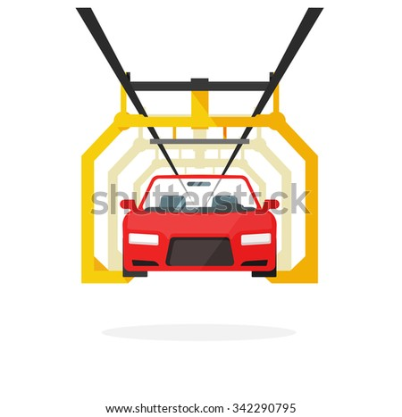 Car production line vector illustration auto maintenance process, automobile manufacturing, emergency service, product release technology industry, repairs template, robot machinery industry design. - stock vector