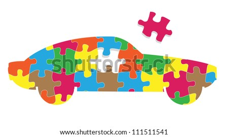 Car puzzle vector background concept - stock vector