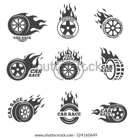 Car race logo set. Wheel with fire flame. Sport speed, tyre blaze, fire and flash, vector illustration - stock vector