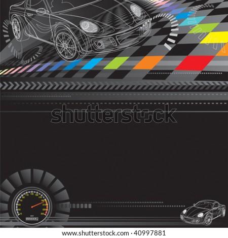 Car racing design in black. Vector layered. - stock vector