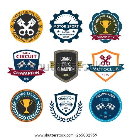 car racing emblems badges vector - stock vector