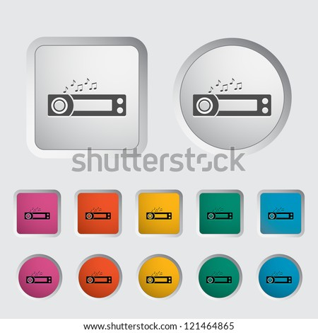 Car radio icon. Vector illustration. - stock vector