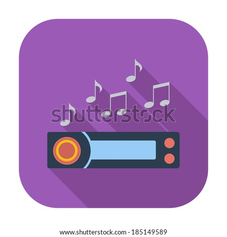 Car radio. Single flat color icon. Vector illustration. - stock vector