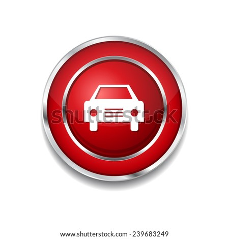 Car Red Vector Icon Button