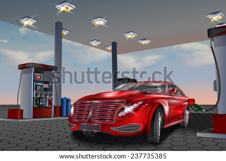 Car refueling on a filling station.Vector illustration. - stock vector