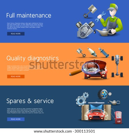 Car repair and diagnostics cartoon horizontal banners set with wash and gas isolated vector illustration  - stock vector