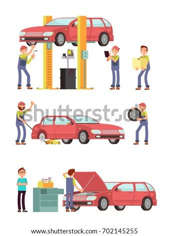 Car repair auto service with mechanic characters in uniform vector set. Mechanic repair car, automobile maintenance illustration