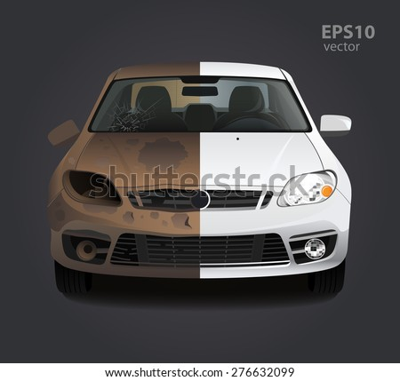 Car repair before and after concept. Color 3d vector creative illustration. Advertising idea. - stock vector