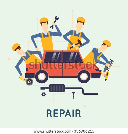 Car repair. Car service. Auto mechanic repair of machines and equipment. Car diagnostics. Vector illustration and flat design. - stock vector