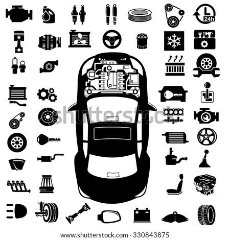 Car repair Engine vector - stock vector