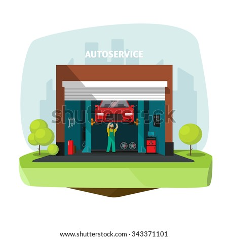 Car repair help garage, auto service center vector illustration with mechanic working under automobile, repairman flat modern graphic design, tools set, automotive electronics, computer diagnostics - stock vector