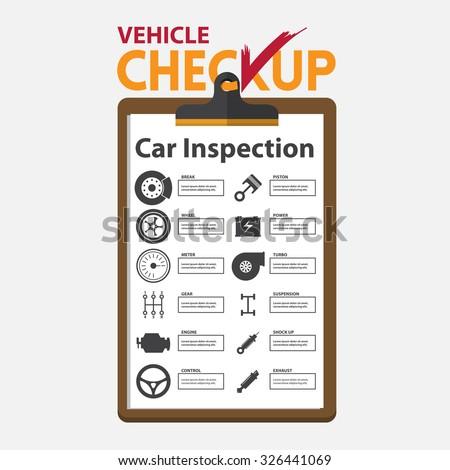 Car repair infographic  in flat design. Checkup clipboard.  Vector Illustration. - stock vector