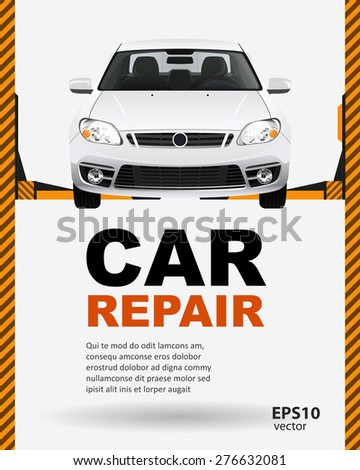 Car repair lift template layout creative color illustration background. - stock vector