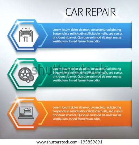 Car repair service and Auto station set horizontal banners with icons design elements. Modern style business presentation template for car repair firm. Vector illustration eps 10  - stock vector