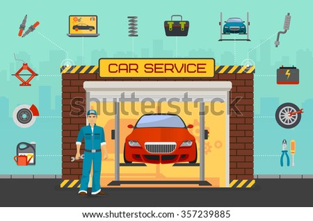 Car repair service center concept with tuning diagnostics flat elements and worker man. - stock vector