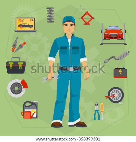 Car repair service concept with tuning diagnostics flat elements and worker man. - stock vector