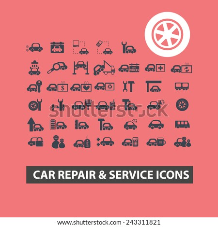 car repair, service icons, signs, symbols, illustrations set on background, vector - stock vector