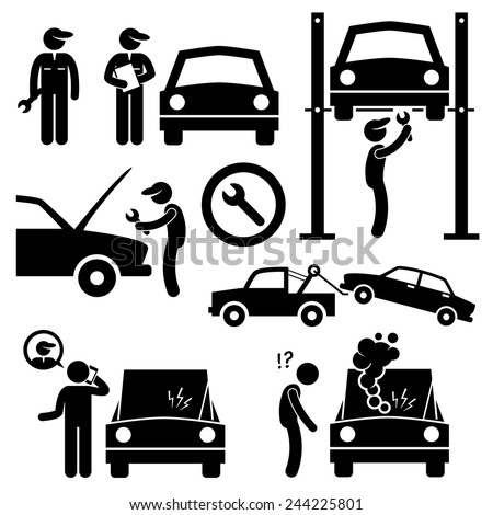 Car Repair Services Workshop Mechanic Stick Figure Pictogram Icons - stock vector