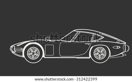 Car retro draw - stock vector