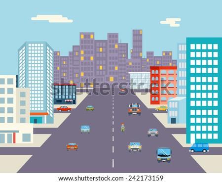 car ride driving city street background flat vector illustration - stock vector