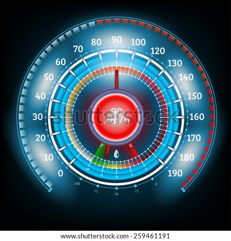 car round abstract shiny speedometer with arrow indicators fuel - stock vector