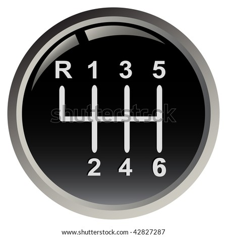Car's gear stick isolated on black background - stock vector