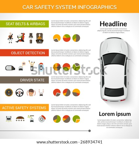 Car safety driver condition control system infographics set with charts vector illustration - stock vector