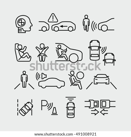 Car Safety Vector Icons