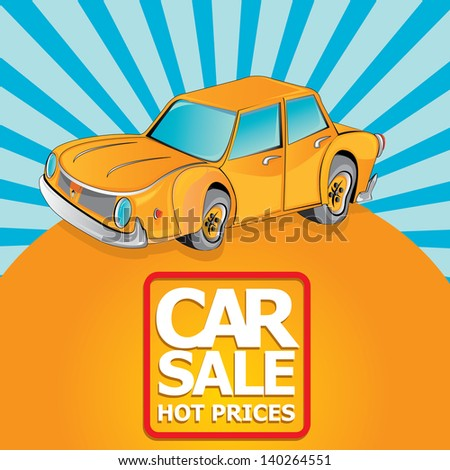 Car sale design template with retro car. Vector illustration of car