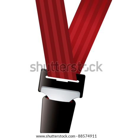 Car seat belt clipped in with red strap - stock vector