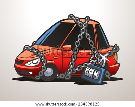 Car security with padlock and chain - stock vector