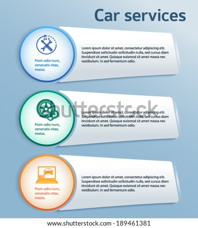 Car service and Auto repair background with icons design elements. Modern style business presentation template for car repair. Vector illustration eps 10  - stock vector