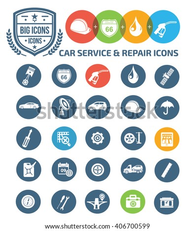 Car service and engine icons,vector - stock vector