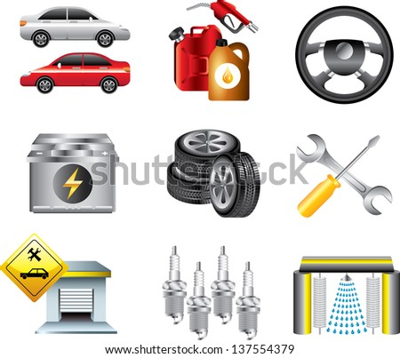 car service and filling station icons detailed vector set - stock vector