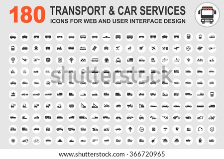 Car service and some types of transportation icon - stock vector