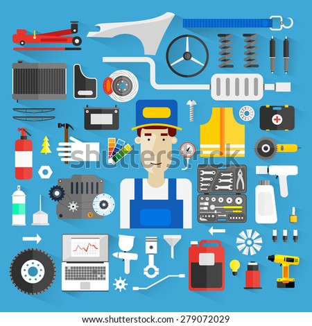 Car service. Auto mechanic repair of machines and equipment. Car diagnostics. Vector illustration and flat icons. - stock vector