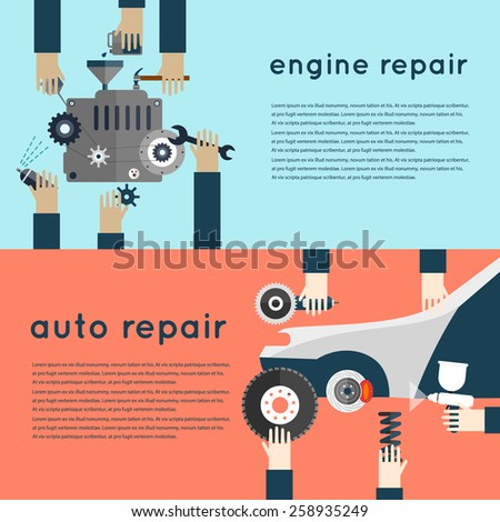 Car service. Auto mechanic repair of machines and equipment. Hands holding tools. Car diagnostics. Vector illustration and flat icons. 2 banners. - stock vector