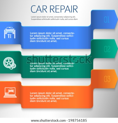 Car service background business presentation template with ribbon banner horizontal. Vector illustration EPS 10 for info-graphics, number options, web site, page layout firm automobile repair  - stock vector