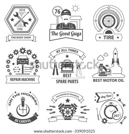 Car service black label set with premium quality workshop symbols isolated vector illustration - stock vector