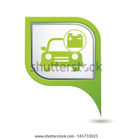 Car service. Car with accumulator icon on green map pointer. - stock vector
