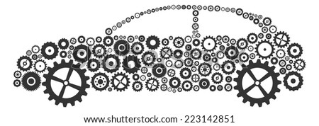 Car Service Concept Made Of Gears And Cogs - stock vector