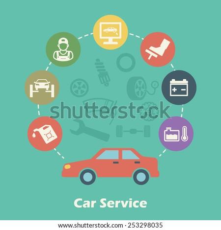 car service concept, vector icons - stock vector