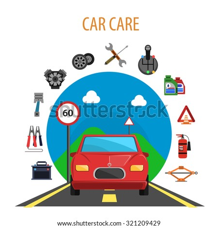 Car service concept with auto on the road and machine spare parts flat icons set vector illustration - stock vector